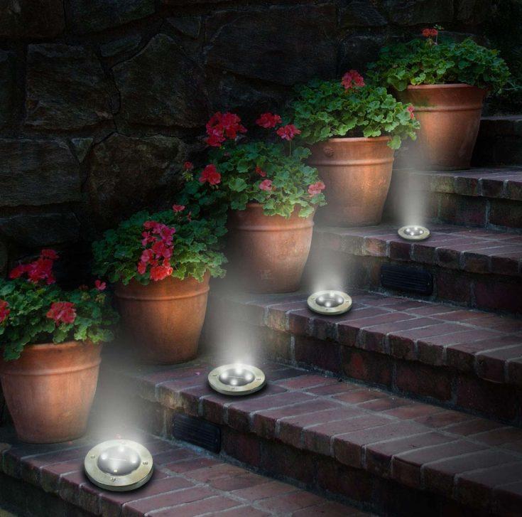 Solar disk lights perfectly arrange on the steps beside flower pots.