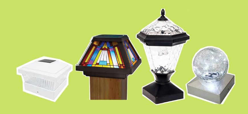 Best Solar Post Cap Lights in yellow green background