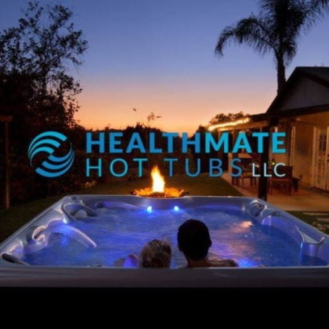 Health Mate Hot Tubs logo in hot tub with man and woman inside background