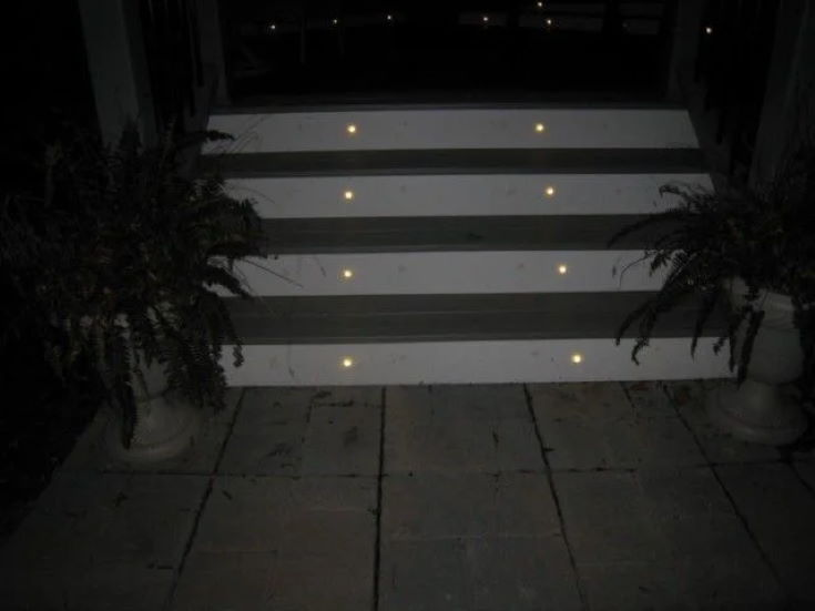LED Deck Lights on white stairs