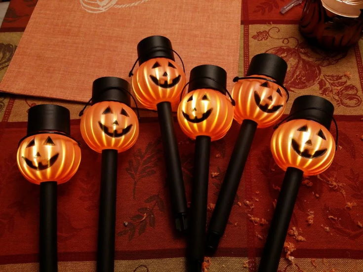 Halloween Solar Lights on printed carpet