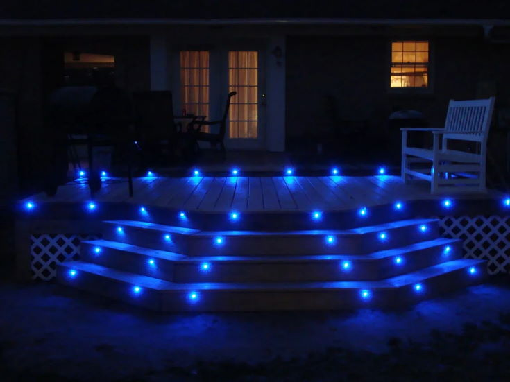 Blue Deck Lights at night