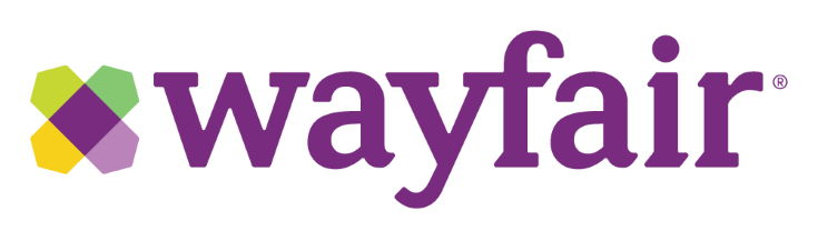 Wayfair logo in white background