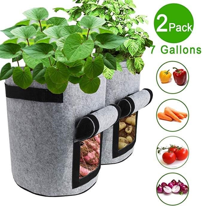 TQQFUN 2 Pack 7 Gallon Smart Potato Bags Velcro Window Vegetable Bags
