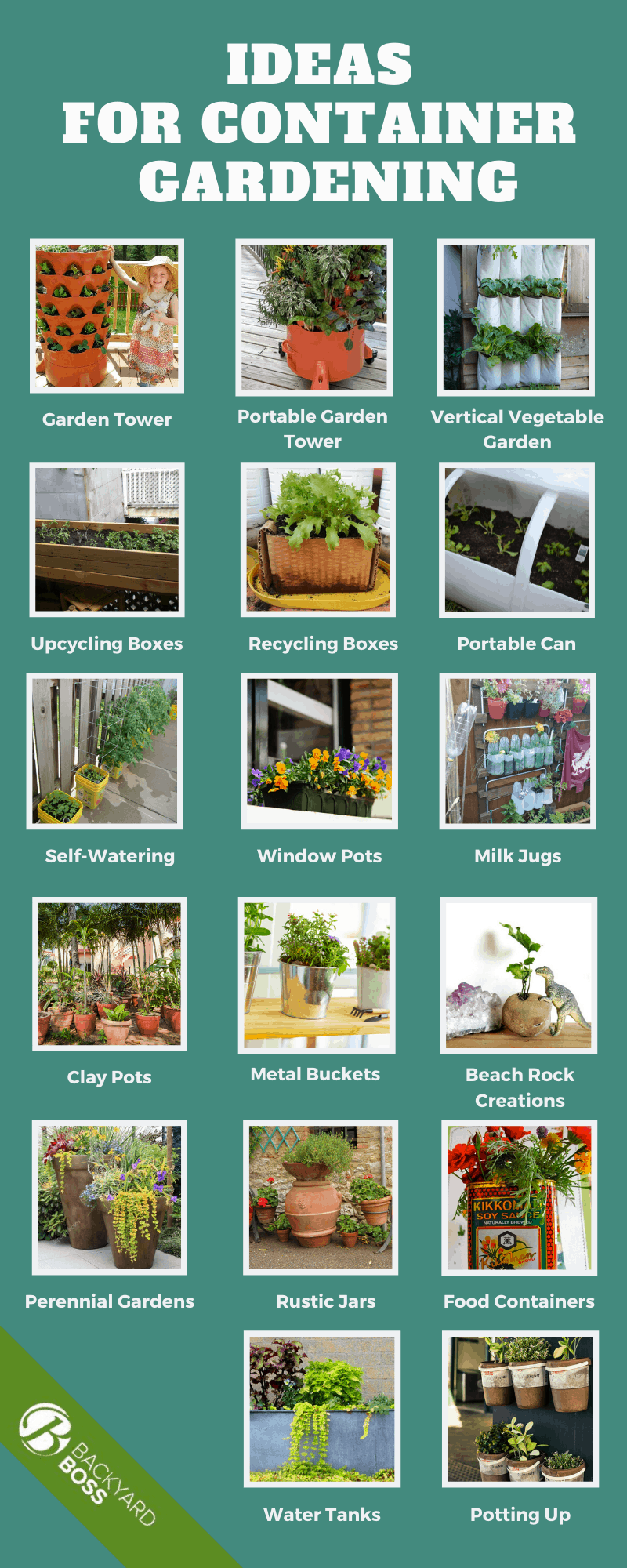 Ideas for Container Gardening - Infographic