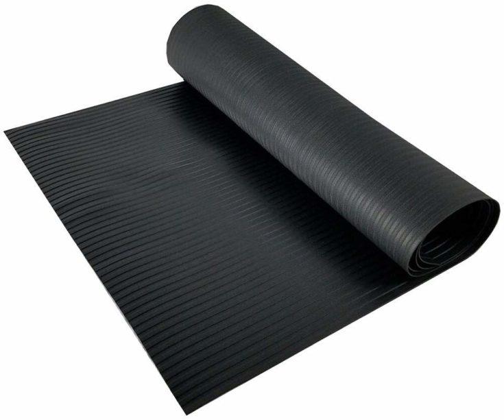 Resilia Black Vinyl Plastic Floor Runner Protector rubber mat