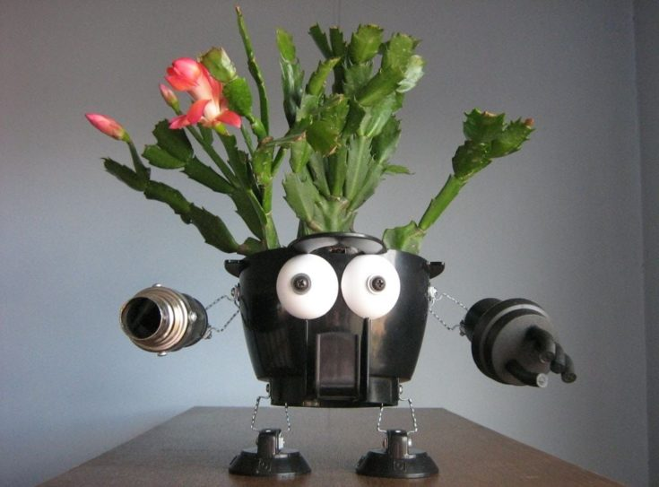 Robot planters from recycled materials.