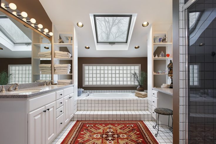 Master bath in luxury home with skylight