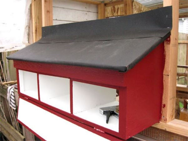 Stylish Nesting Box attached to a wooden house with red and black paint