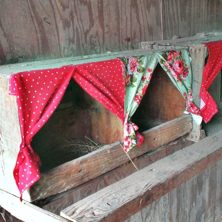 Rustic Nesting Boxes with curtains