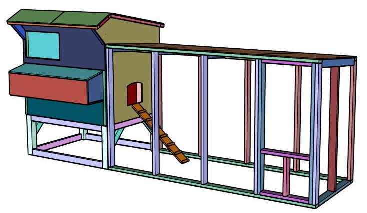 Chicken Coop Run Plans in 3D