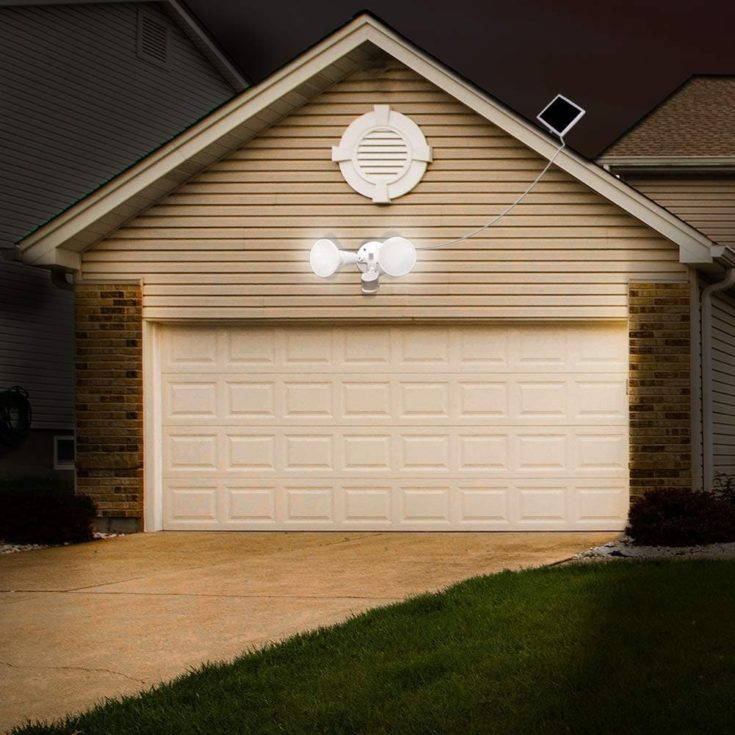 Westinghouse Solar Security Lights Outdoor installed above a garage.