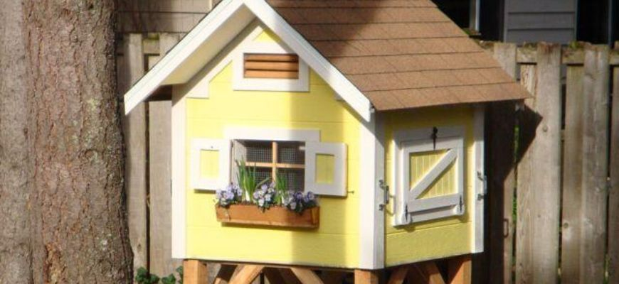 wooden coop with yellow and white paint