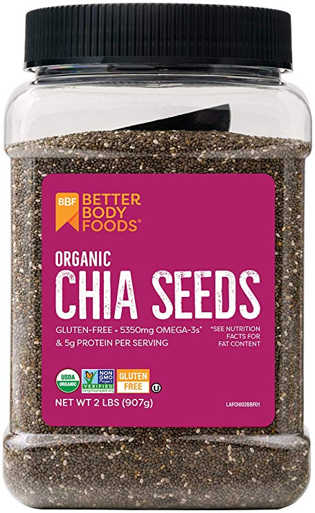 Organic Chia seeds in a plastic container.