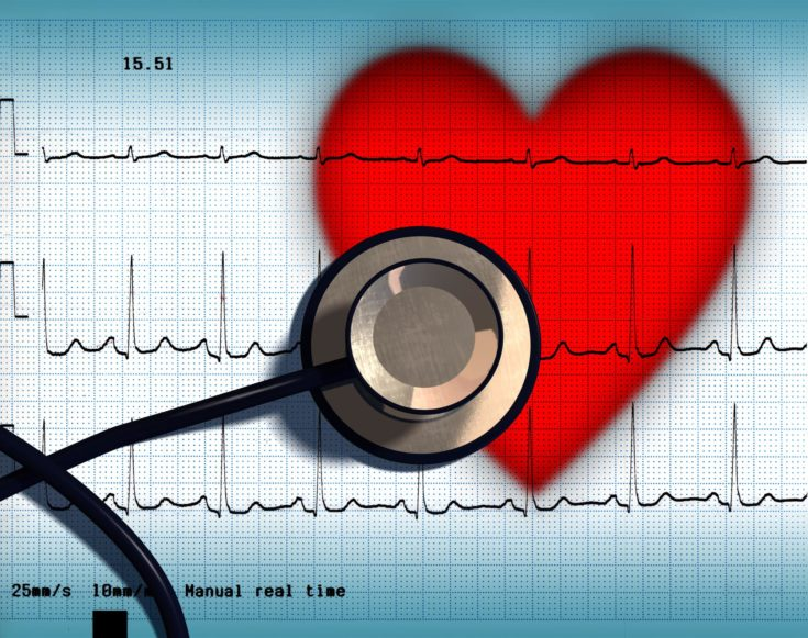 Stethoscope and ECG over a stylized hearth. Digital illustration