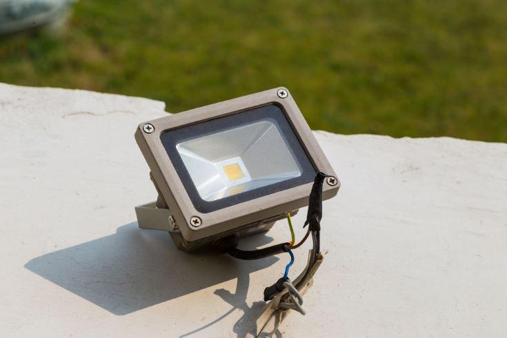 LED spotlight outside building