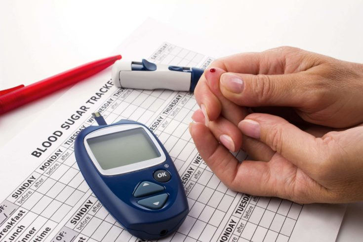 woman's hands doing a test for determination level sugar in blood near lie glucometer, medicine form and pen on white background