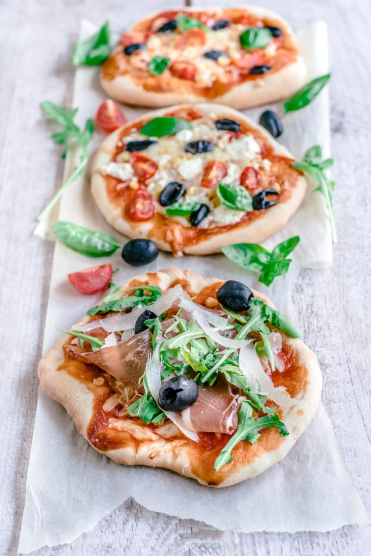 Mini pizzas served on the table,selective focus
