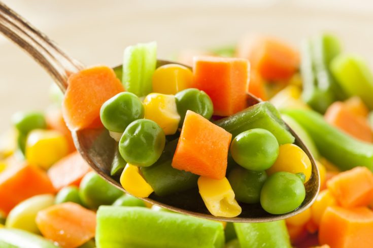 Steamed Organic Vegetable Medly with Peas, Corn, Beans, and Carrots