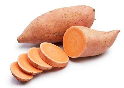 Sweet orange potatoes in a white background.