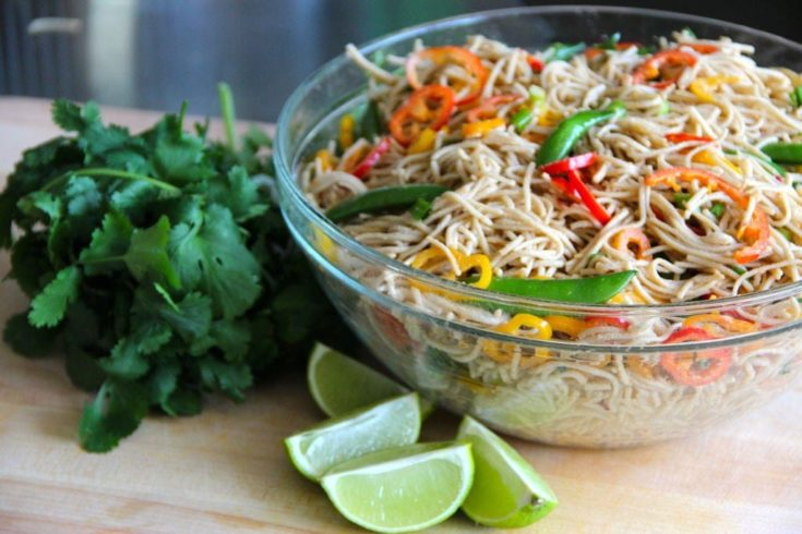 Thai Peanut Noodles in a bowl and slice lemon on the side.