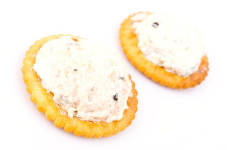 Tuna cracker on white background