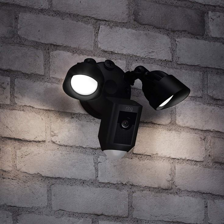 Ring Floodlight Camera on the wall