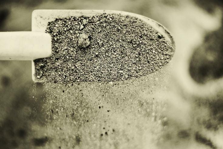 sand on the shovel