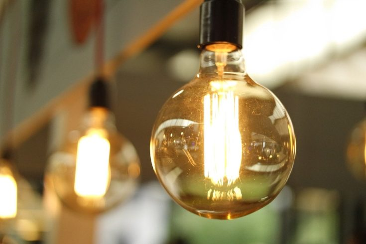 old incandescent bulb in selective focus