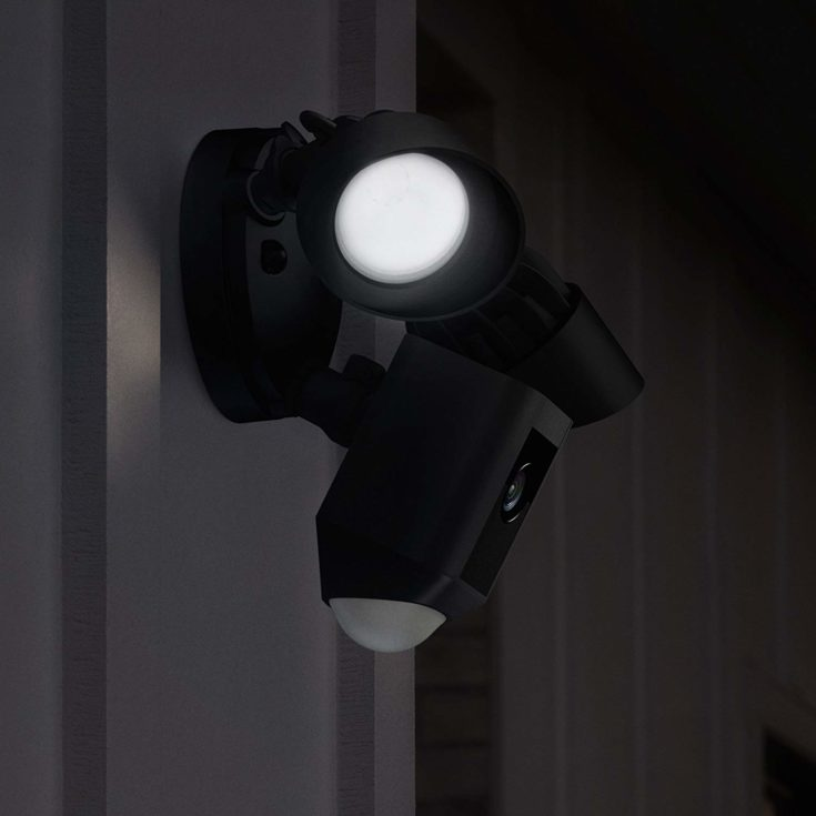 Ring Floodlight Cam,mounted on a wall.