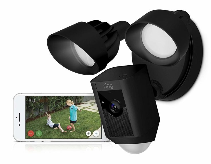 Ring Floodlight Camera Motion-Activated HD Security Cam Two-Way Talk and Siren Alarm, Black, Works with Alexa and a smartphone