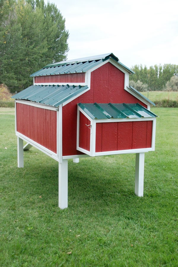 Barn Style Coop in red and white paint