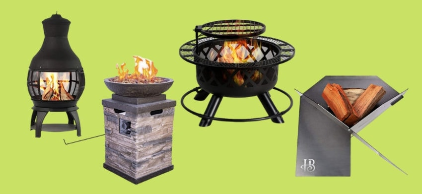 Gather Round These Awesome Fire Pits! - Four Fire pits in green background.