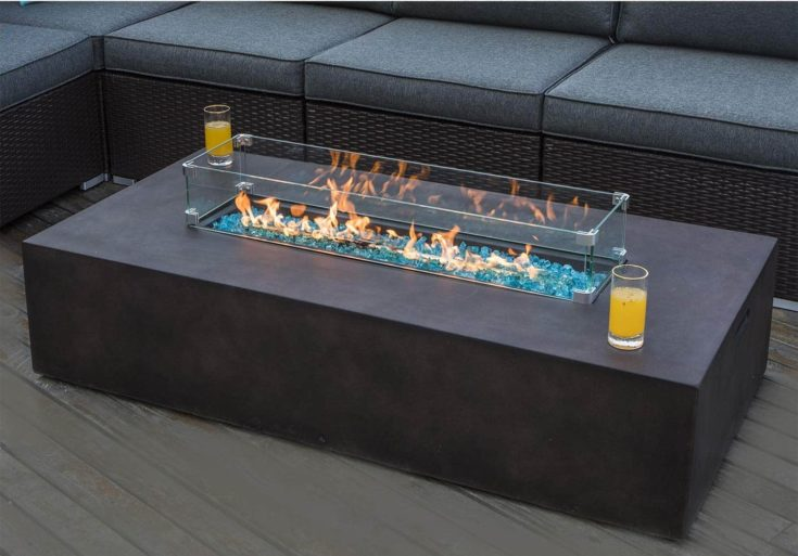 COSIEST Outdoor Propane Fire Pit Table 56-inch x 28-inch Rectangle Bronze Compact Concrete-Like Finish, 60,000 BTU,Wind Guard, Tank Outside, Free Lava Rocks, Fits 20gal Tank Outside, Raincover