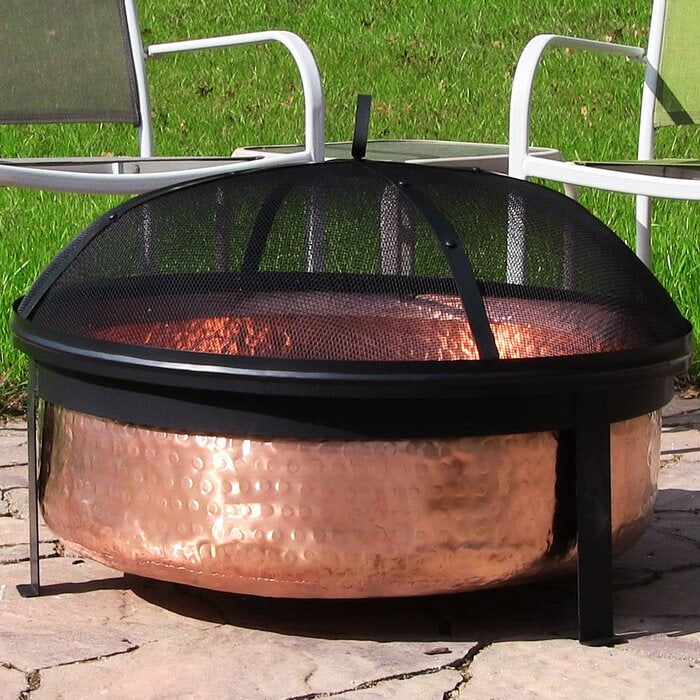 Tyrone Hammered Copper Wood Burning Fire Pit