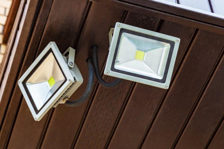 Two led lantern outdoor, street light closeup