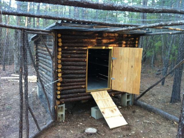 a small chicken coop made from log