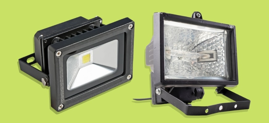 LED VS Halogen Flood Lights: What's the Difference? A Led floodlight and halogen bulb floodlight on a yellow green background.