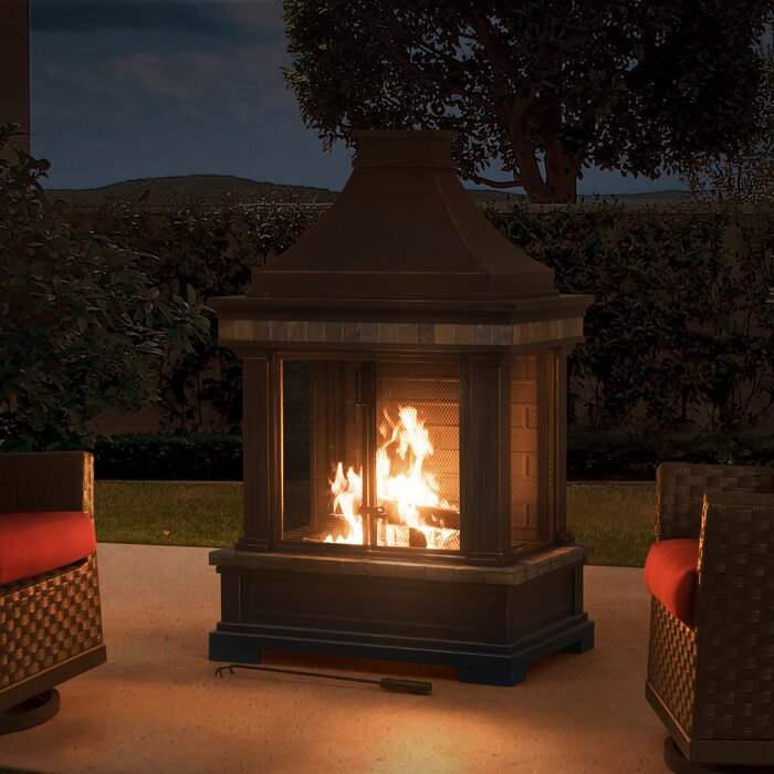 Pitchford Steel Wood Burning Outdoor Fireplace