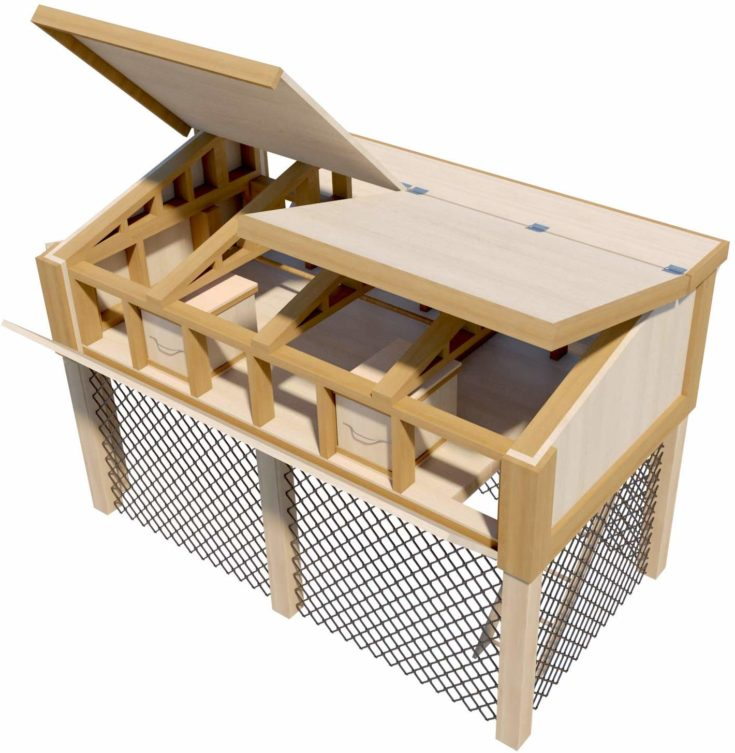 Portable Chicken Coop Plans with Kennel Run DIY Hen House Farm Build Your Own