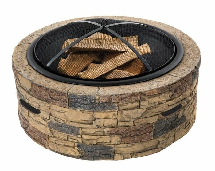 Cast Stone Wood Burning Fire Pit in a white background.