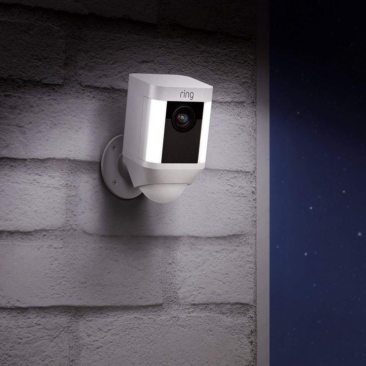 Ring Spotlight Cam on the wall