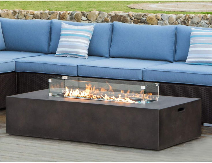 COSIEST Outdoor Propane Fire Pit Table, couch outside