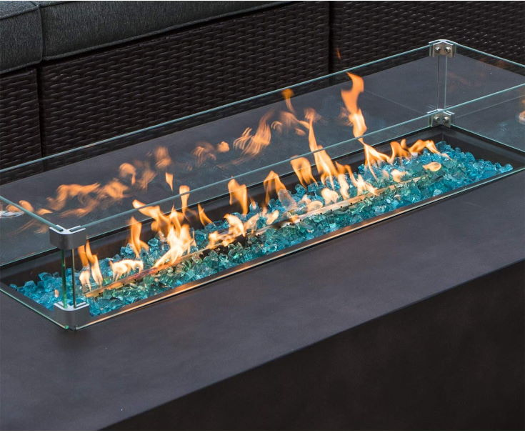 COSIEST Outdoor Propane Fire Pit Table 56-inch x 28-inch Rectangle Bronze Compact Concrete-Like Finish