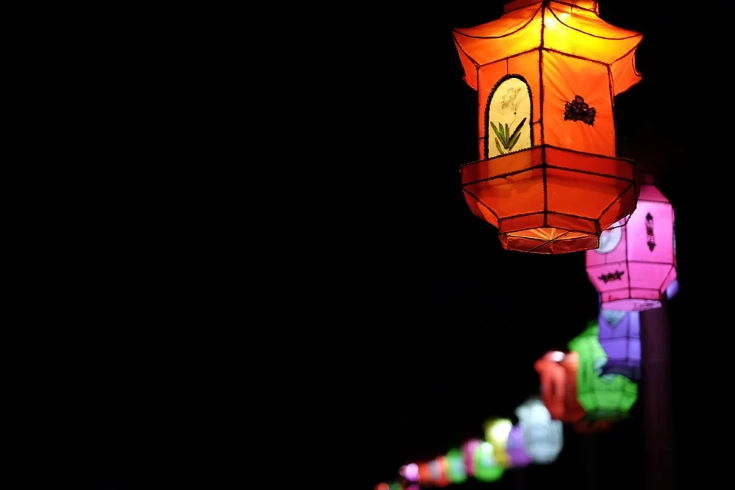 colorful Lantern lights during night time