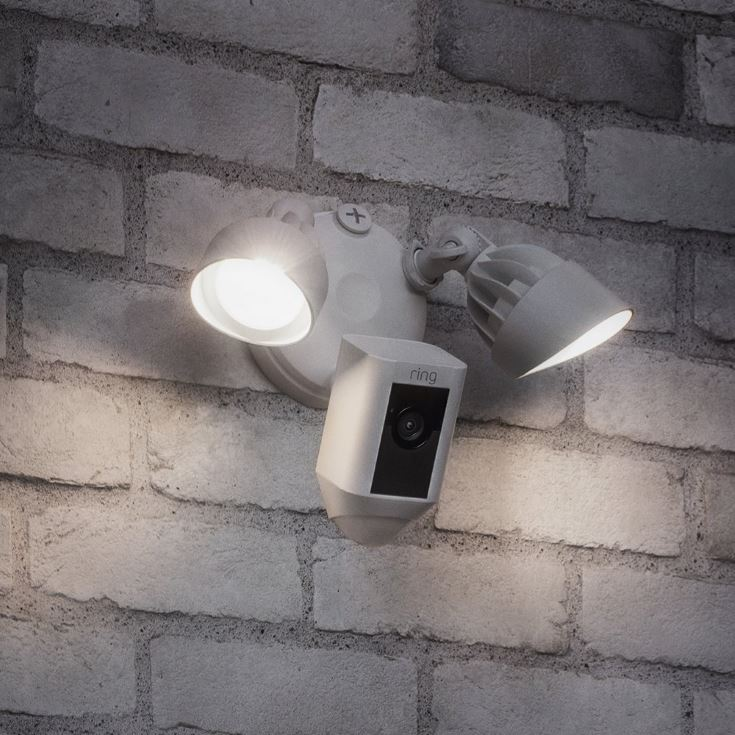 Ring Floodlight Cam on the wall