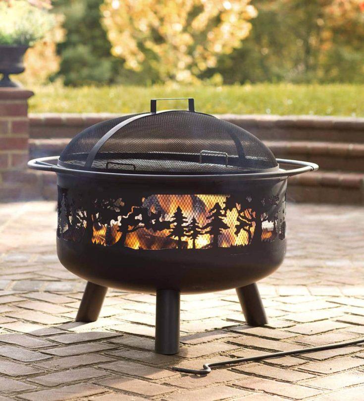Timberline Wood-Burning Fire Pit on backyard.