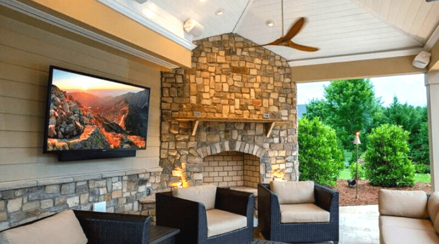 How To Mount A Tv Outside On Your Siding, Outdoor Fireplace Kit With Tv Mount