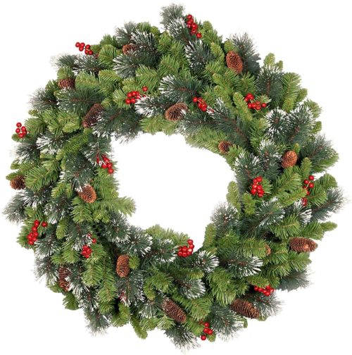 Decorate Your Own Christmas Wreath Green Spruce Door Wall Decoration 45cm 18/""