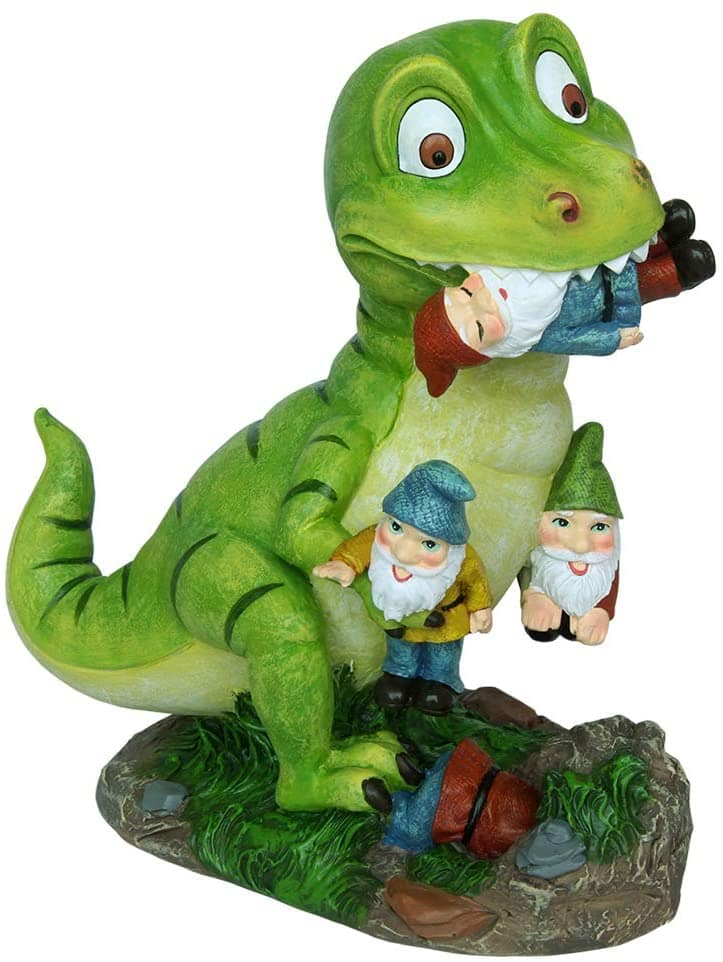 Gnomes Riding a Dinosaour
